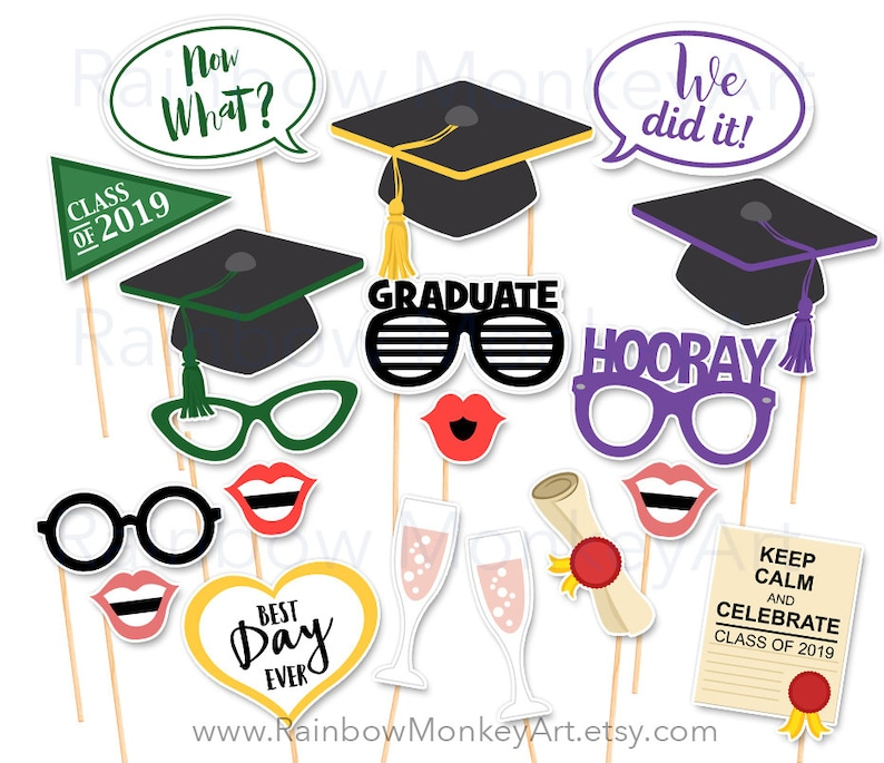image about Graduation Photo Booth Props Printable referred to as Printable Commencement Image Booth Props - Commencement Photobooth Props - Commencement Printable Props - Commencement Cl of 2019 Celebration
