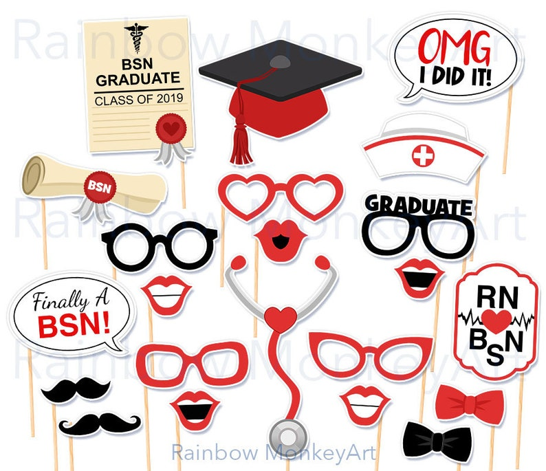 photograph relating to Graduation Photo Booth Props Printable referred to as Nurse Commencement Printable Photograph Booth Props - RN BSN Photobooth Props - Nurse Photograph Booth Props - Nursing Higher education Photograph Booth Props