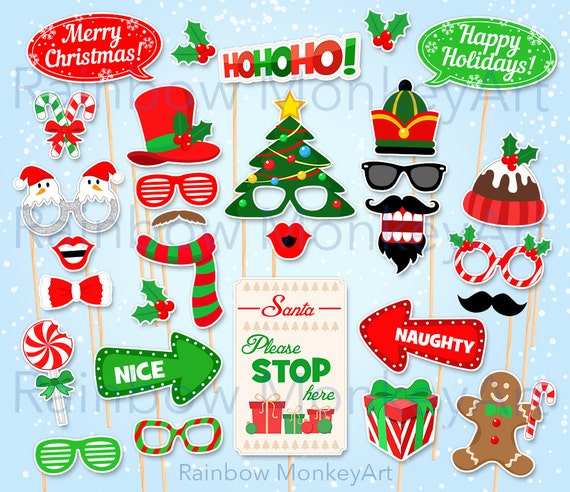 image regarding Christmas Photo Props Printable identified as Printable Xmas Photograph Booth Props - Christmas Celebration Photobooth Props - Santa Claus Image Booth Props - Electronic Obtain