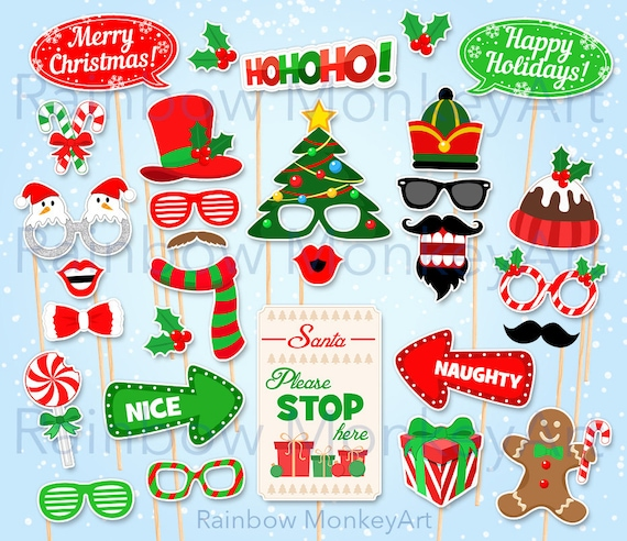 photo regarding Christmas Photo Props Printable titled Printable Xmas Image Booth Props - Christmas Social gathering Photobooth Props - Santa Claus Photograph Booth Props - Electronic Obtain