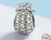 925 Sterling Silver Sparkling Pineapple Charm With Cubic Zirconia For European Bracelets Fits Pandora Gift