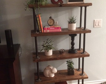Reclaimed Wood Bookcase Industrial Pipe Shelving Unit Book Shelf Rustic Decor Gas Wall