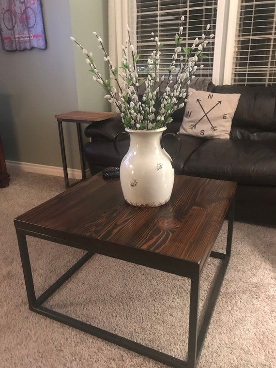 Modern Industrial Reclaimed Wood Coffee Table, Living Room Table, Custom  Table, Square Coffee Table, Chic Coffee Table, Contemporary Table
