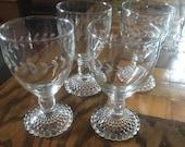 Crystal Glasses - Four Vintage Anchor Hocking Hobnail Pattern Boopie Crystal Glasses