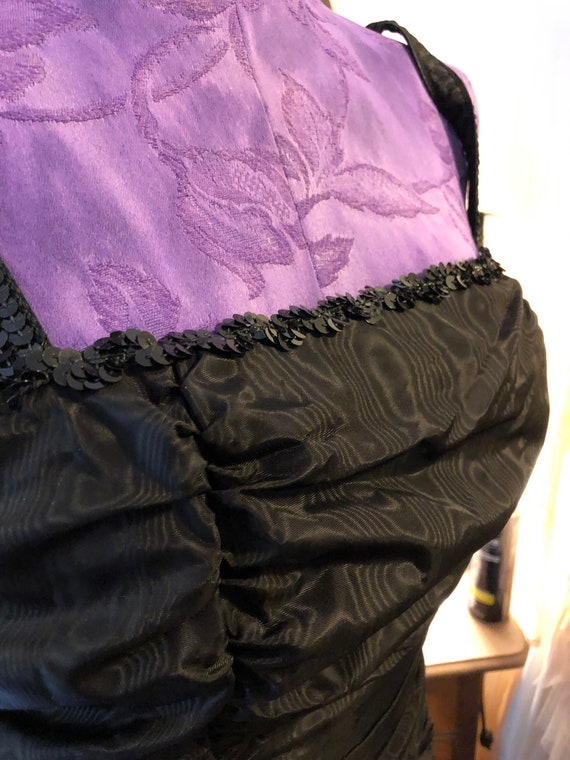 1980s Gunne Sax Black Satin Midi Dress - Size 9 G… - image 7