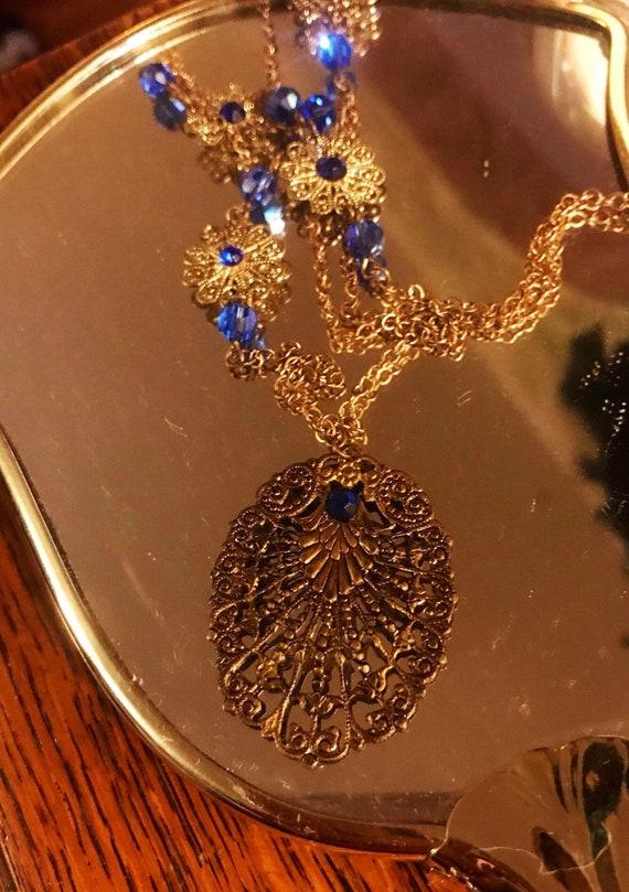 Art Deco Antique Necklace - Bronze and Blue Czech