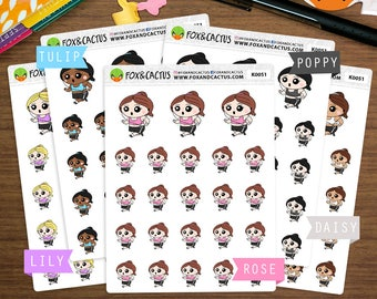 Running Kawaii Girls - Walking Fitness Exercise Workout Marathon - Planner Stickers (K0051)