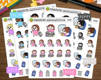 Travel Kawaii Girls - Vacation Holiday Flying Plane Packing - Planner Stickers (K0066)