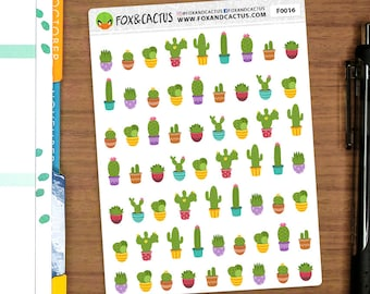 Cactus MINI - Mixed Succulent Plant Plants Gardening - Planner Stickers (F0016)