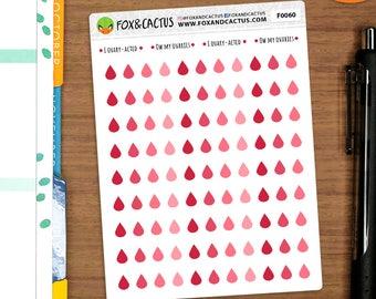 Mini Monthly Blood Drops - Period Drops Shark Week Tracker - Planner Stickers (F0060)