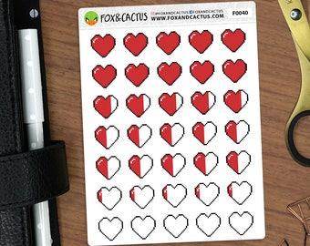 Pixel Herzen - gemischte Schmerzen Tracker Angst Geeky Nerdy Gesundheit - Sticker (F0040)