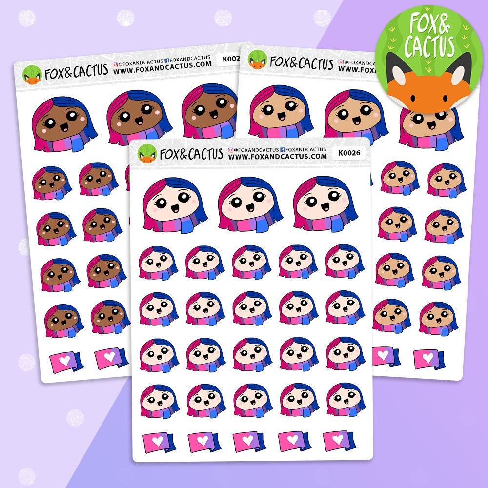 Lgbt Bi Kawaii Girls Bisexual Pride Planner Stickers  Etsy-3598