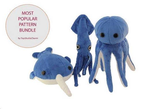 Aquatic Plush Friends PDF Sewing Pattern Bundle Narwhal   Etsy