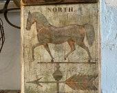 Primitive Horse Weathervane Sign - 15 1 2X9 1 2 Sign - Primitive Sign - Old Wood Sign - Farmhouse Decor - Horse Decor - Folk Art Sign