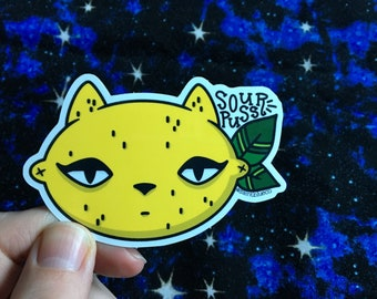 Sour Puss, Cute Cat, High Quality Vinyl Sticker
