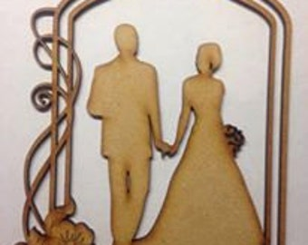 wooden Bride and Groom wedding decoration topper blank