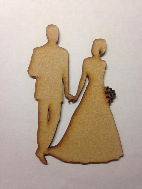 Wooden Shape MDF Laser Cut Bride Groom Wedding Decoration  Craft blank