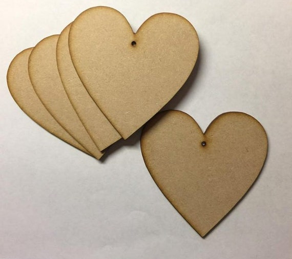 Embellishments 9 sizes Laser Cut Decorations Wooden MDF Hearts Craft Plaques