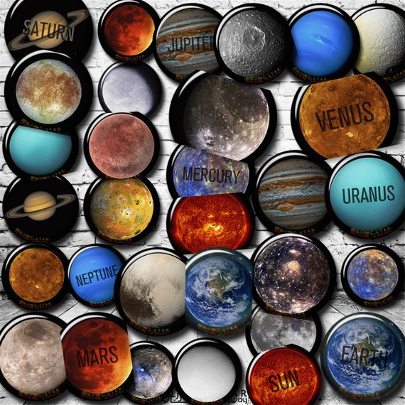 Planetary Pins Planet Pins Space Button Set Planet Button Set 10 Planetary Buttons Planet Badges