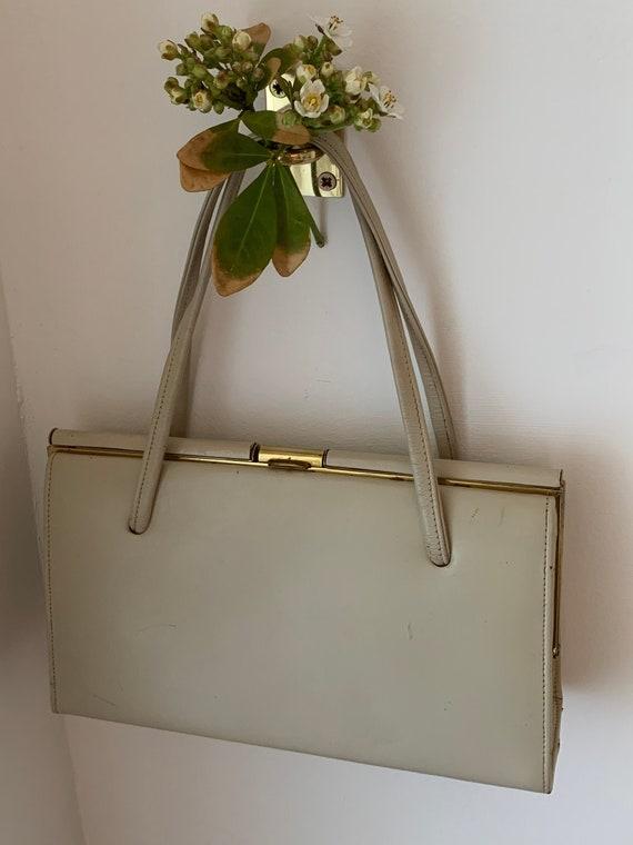 Jonelle Vintage Cream Box Bag.  Leather Box Bag.