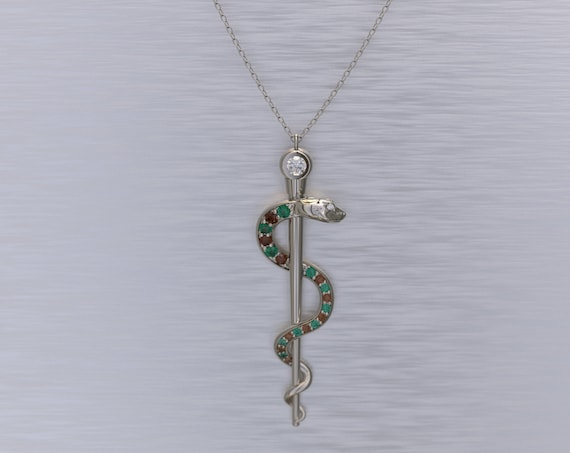 Rod of Asclepius Necklace Emerald and Ruby