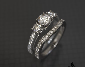Three Stone Engagement Ring and Matching Band Set