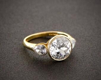 Custom Three Stone Ring in 14K Yellow Gold