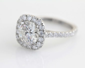 1 Carat Cushion Diamond Halo Engagement Ring