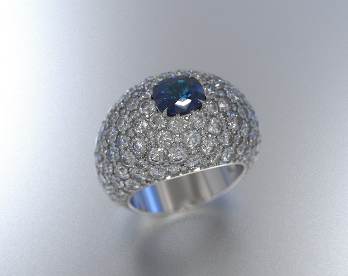 Featured listing image: Cushion Cut Sapphire Statement Ring