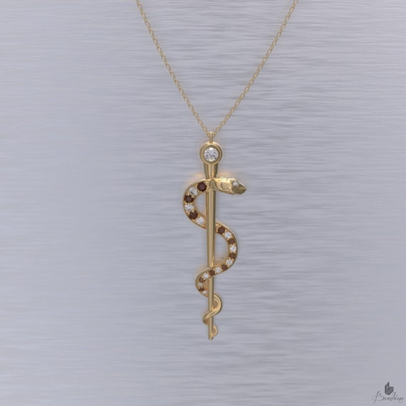 Rod of Asclepius Necklace Diamond and Ruby