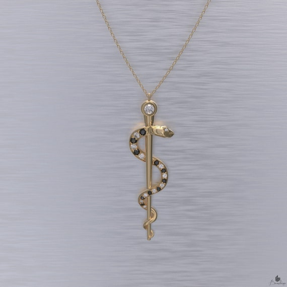 Rod of Asclepius Necklace Black and White Diamonds