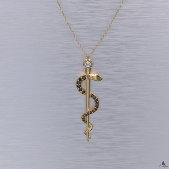 Rod of Asclepius Necklace Black Diamonds