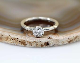1 Carat Round Bezel Set Diamond Solitaire Engagement Ring