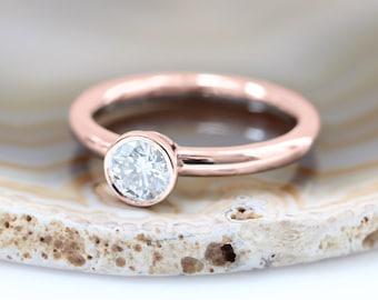 0.7 Carat Round Bezel Set Diamond Solitaire Engagement Ring
