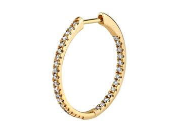 Medium Inside and Out Diamond Hoop Earrings