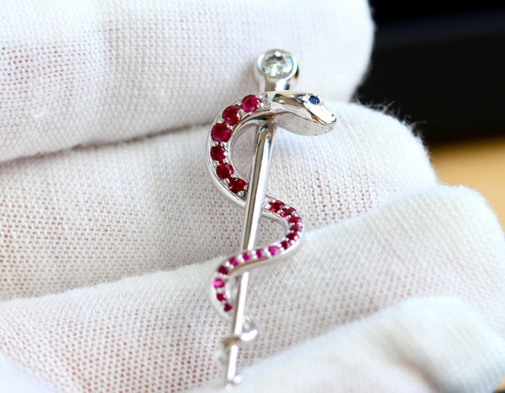 Rod of Asclepius Necklace Ruby