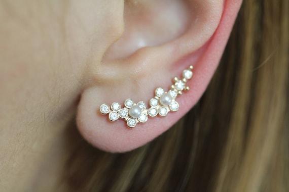 Diamond and Pearl Flower Climber Earrings