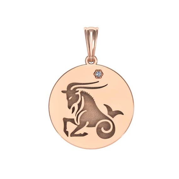 Capricorn Necklace, Zodiac Jewelry, Zodiac Necklace, Gold Necklace, Rose Gold Jewelry, White Gold necklace, Solid Gold Zodiac Necklace