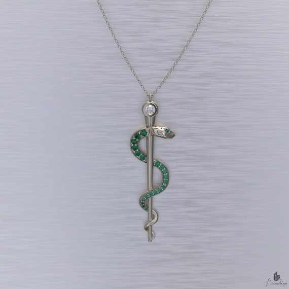 Rod of Asclepius Necklace Emeralds