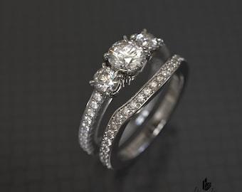 Three Stone Engagement Ring and Matching Band Set