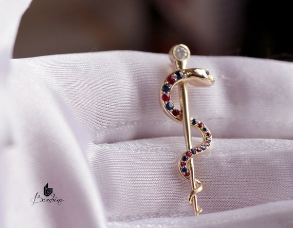 Rod of Asclepius Necklace Sapphire and Ruby!