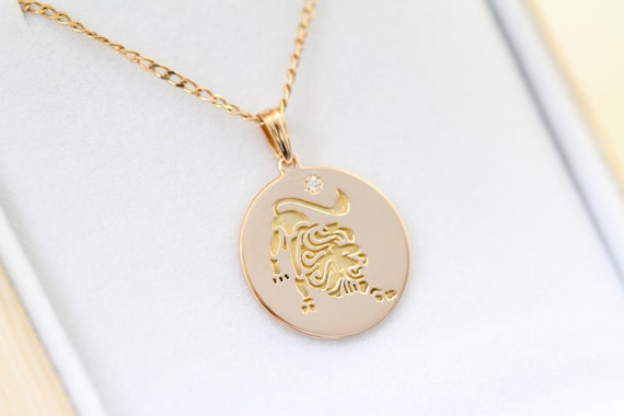 Leo Necklace Zodiac Jewelry Zodiac Necklace Gold Necklace Etsy