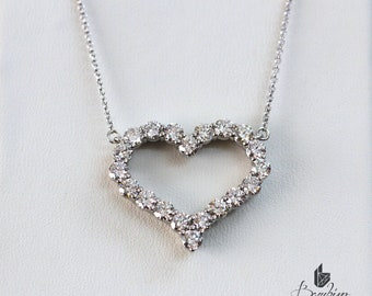 Diamond Heart Pendant, Diamond Heart Necklace
