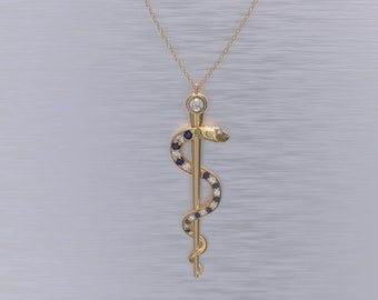 Rod of Asclepius Necklace Diamond and Sapphire No Chain
