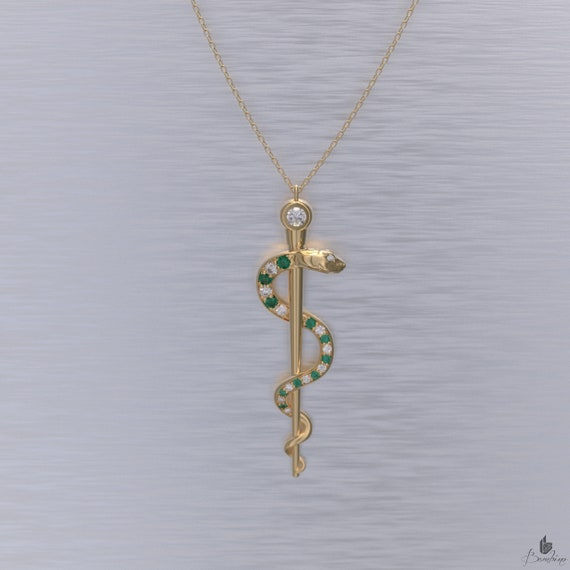 Rod of Asclepius Necklace Emerald and Diamond