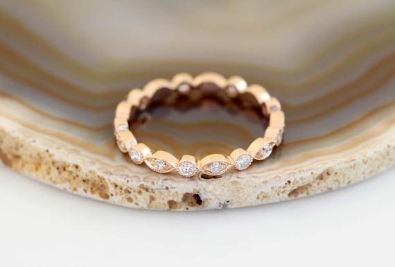 Art Deco Wedding Band, Rose Gold Wedding Band, Vintage Wedding Band, Vintage Diamond Wedding Ring, Milgrain Wedding Ring,Unique Wedding Band