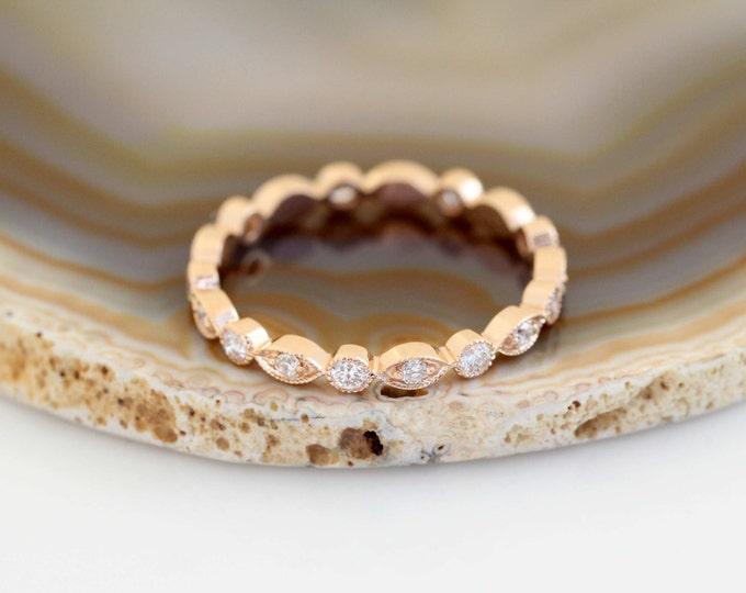 Featured listing image: Art Deco Wedding Band, Rose Gold Wedding Band, Vintage Wedding Band, Vintage Diamond Wedding Ring, Milgrain Wedding Ring,Unique Wedding Band