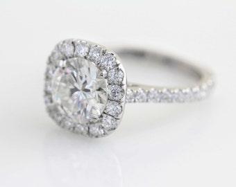1 Carat Cushion Diamond Halo Engagement Ring