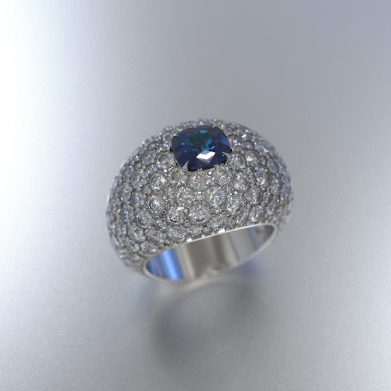Cushion Cut Sapphire Statement Ring