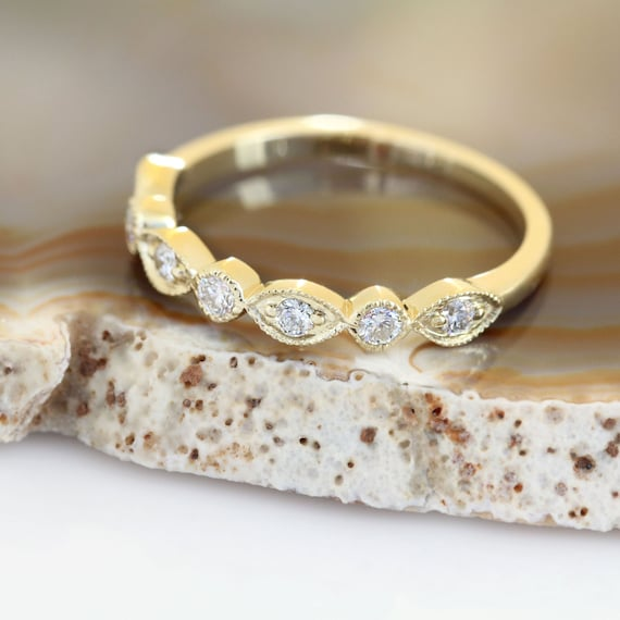 Art Deco Wedding Band, Yellow Gold Wedding Band, Vintage Wedding Band, Vintage Diamond Wedding Ring, Milgrain Wedding Ring